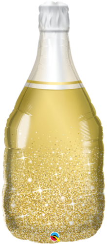 Muotofoliopallo, golden bubbly wine bottle